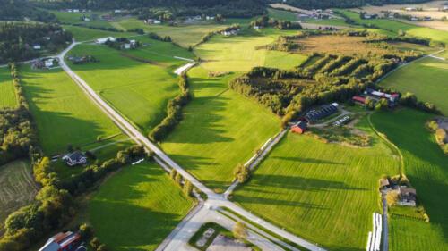 Teglverksveien fra skole mot Grønningsmarka/Bliksås